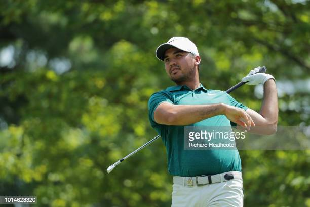 Jason Day of Australia plays his shot from the second tee during the second round of the 2018 PGA Championship at Bellerive Country Club on August...