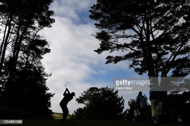 Jason Day of Australia plays his shot from the second tee during the third round of the AT&T Pebble Beach Pro-Am at Spyglass Hill Golf Course on...