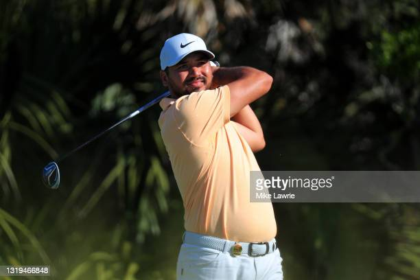 Jason Day of Australia plays his shot from the second tee during the third round of the 2021 PGA Championship at Kiawah Island Resort's Ocean Course...