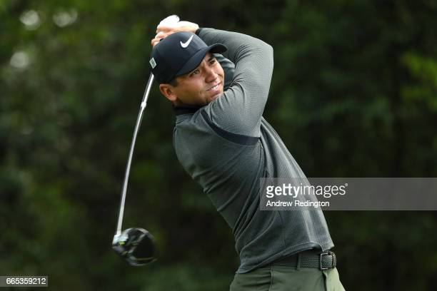 Jason Day of Australia plays his shot from the second tee during the first round of the 2017 Masters Tournament at Augusta National Golf Club on...
