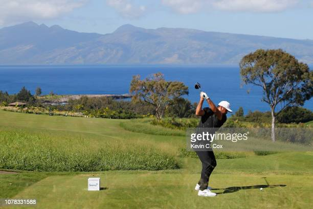 Jason Day of Australia plays his shot from the seventh tee during the final round of the Sentry Tournament of Champions at the Plantation Course at...