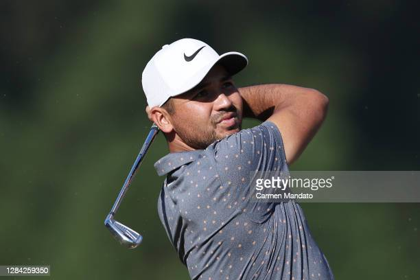 Jason Day of Australia plays his shot from the seventh tee during the second round of the Houston Open at Memorial Park Golf Course on November 06,...
