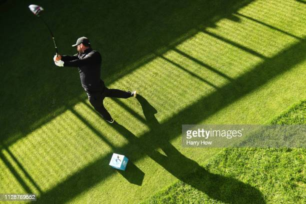Jason Day of Australia plays his shot from the tenth tee during the final round of the ATT Pebble Beach ProAm at Pebble Beach Golf Links on February...