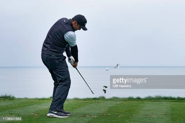 Jason Day of Australia plays his shot from the third tee during the second round of the AT&T Pebble Beach Pro-Am at Spyglass Hill Golf Course on...
