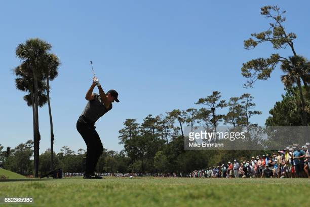 Jason Day of Australia plays his shot from the third tee during the second round of THE PLAYERS Championship at the Stadium course at TPC Sawgrass on...