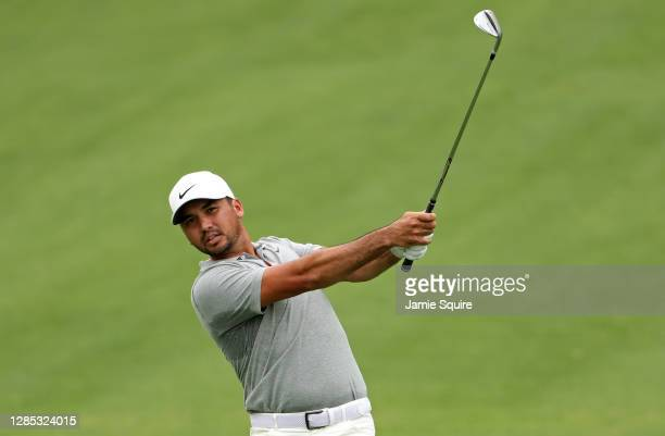Jason Day of Australia plays his shot on the seventh hole during the first round of the Masters at Augusta National Golf Club on November 12, 2020 in...