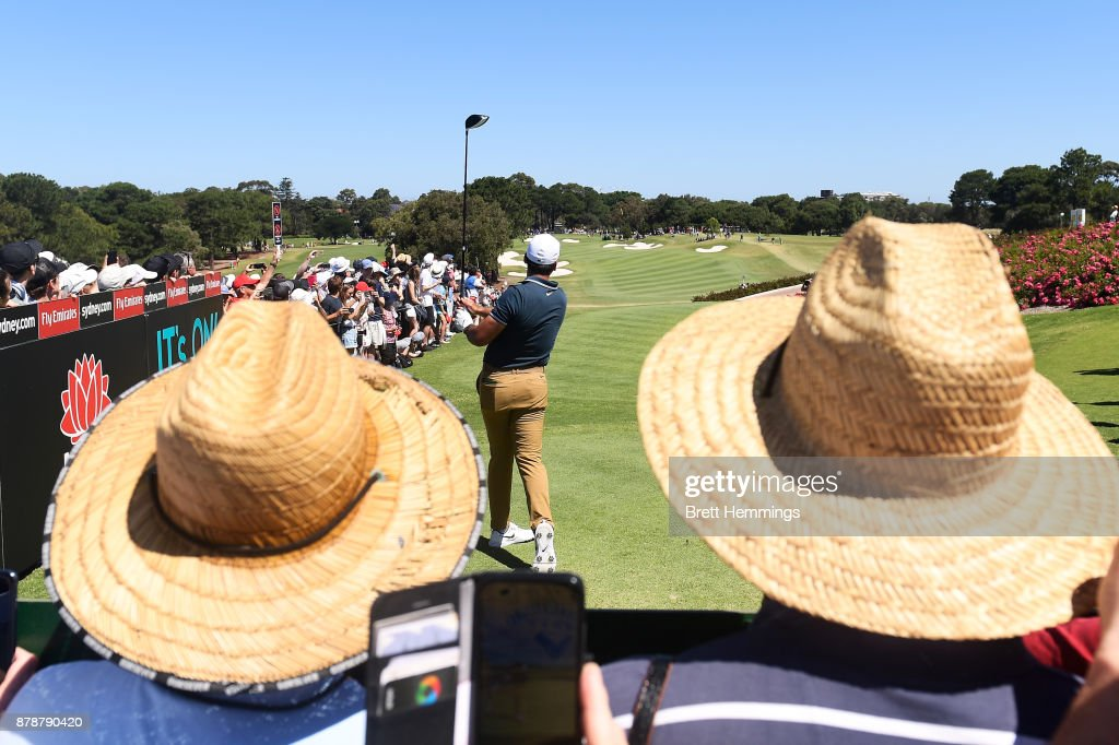 Jason Day of Australia plays his tee shot on the 10th hole during day three of the 2017 Australian Golf Open at The Australian Golf Club on November 25, 2017 in Sydney, Australia.
