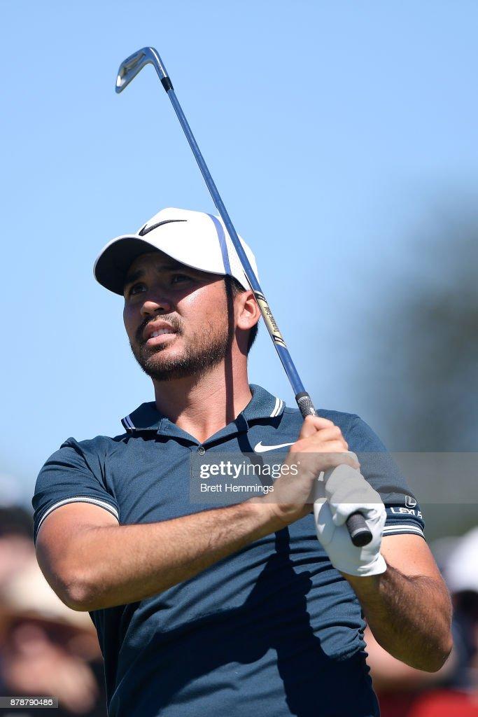 Jason Day of Australia plays his tee shot on the 11th hole during day three of the 2017 Australian Golf Open at The Australian Golf Club on November 25, 2017 in Sydney, Australia.