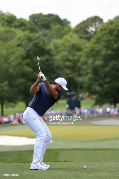 Jason Day of Australia plays his tee shot on the sixth hole during the final round of the 2018 Wells Fargo Championship at Quail Hollow Club on May 6...
