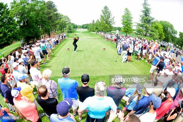 Jason Day of Australia plays his tee shot on the third hole during the third round of the 2018 Wells Fargo Championship at Quail Hollow Club on May 5...