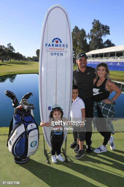 Jason Day of Australia poses with his wife Ellie Day his children Dash and Lucy after winning the Farmers Insurance Open on the sixth playoff hole at...