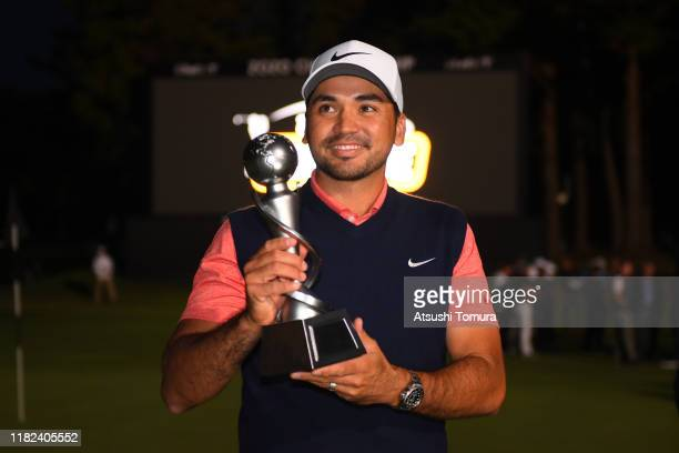 Jason Day of Australia poses with the trophy after The Challenge: Japan Skins at Accordia Golf Narashino Country Club on October 21, 2019 in Inzai,...