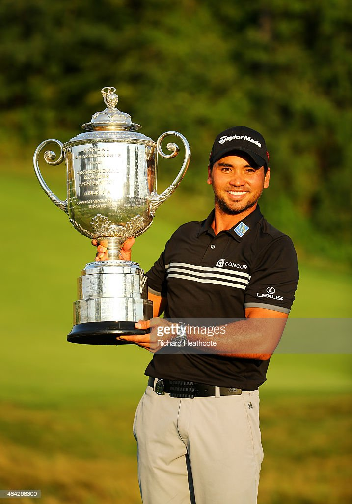 Jason Day of Australia poses with the Wanamaker Trophy after winning the 2015 PGA Championship with a score of 20-under par at Whistling Straits on August 16, 2015 in Sheboygan, Wisconsin.