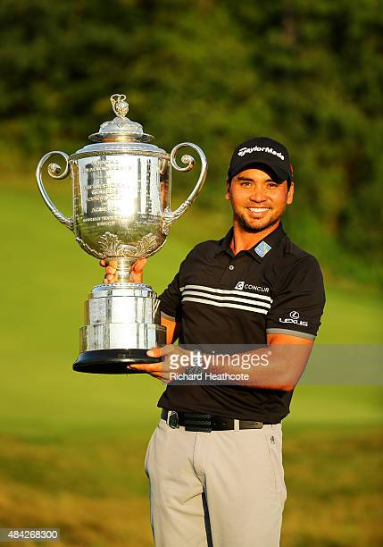 Jason Day of Australia poses with the Wanamaker Trophy after winning the 2015 PGA Championship with a score of 20-under par at Whistling Straits on...