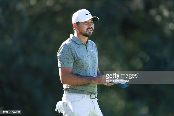 Jason Day of Australia prepares to play his shot on the second tee during the third round of The RSM Classic at the Seaside Course at Sea Island Golf...