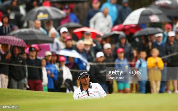 Jason Day of Australia prepares to play out of a bunker during day two of the Australian Open at Royal Sydney Golf Club on November 29, 2013 in...