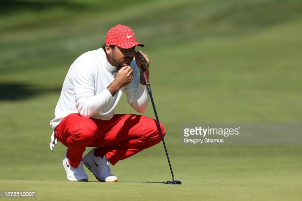 Jason Day of Australia prepares to putt on the 17th green during the third round of the 120th U.S. Open Championship on September 19, 2020 at Winged...