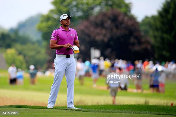 Jason Day of Australia prepares to putt on the first green during the final round of the US Open at Oakmont Country Club on June 19 2016 in Oakmont...