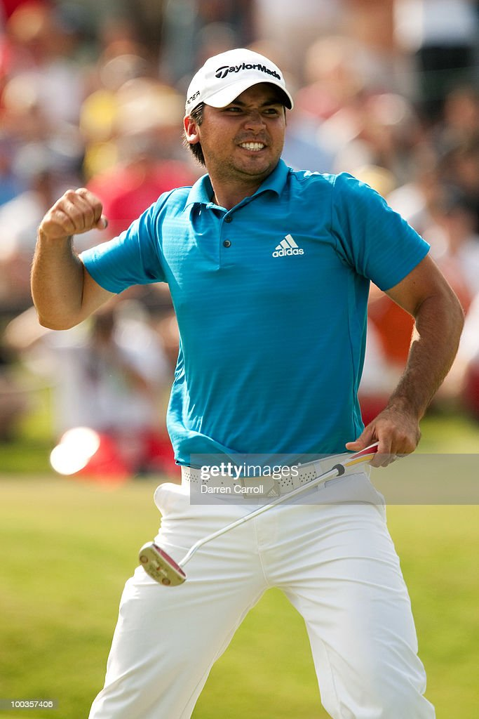 Jason Day of Australia pumps his fist after sinking a bogey putt on the 18th hole to win the HP Byron Nelson Championship at TPC Four Seasons Resort Las Colinas on May 23, 2010 in Irving, Texas.