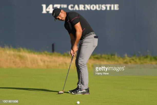 Jason Day of Australia putts during the first round of the 147th Open Championship at Carnoustie Golf Club on July 19 2018 in Carnoustie Scotland