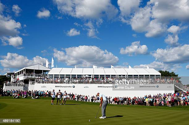 Jason Day of Australia putts for par on the 13th green during the Third Round of the BMW Championship at Conway Farms Golf Club on September 19 2015...
