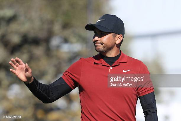 Jason Day of Australia reacts after a putt on the 18th green during the second round of the AT&T Pebble Beach Pro-Am at Pebble Beach Golf Links on...