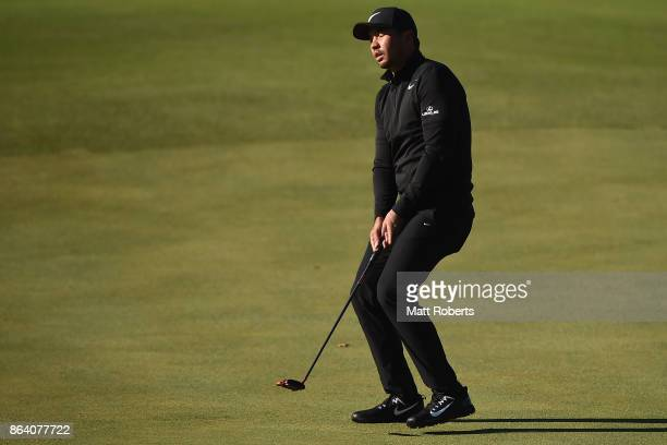 Jason Day of Australia reacts after his putt on the 3rd green during the third round of the CJ Cup at Nine Bridges on October 21 2017 in Jeju South...