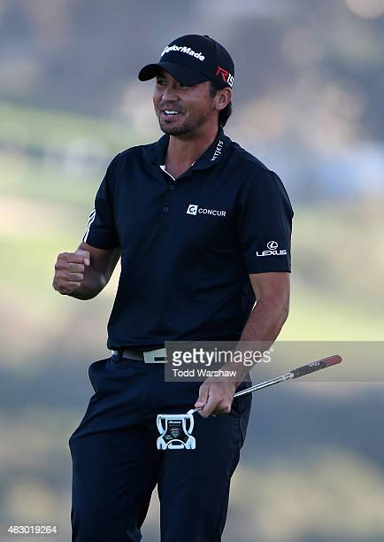 Jason Day of Australia reacts after his victory on the second playoff hole on the 17th green during the final round of the Farmers Insurance Open at...