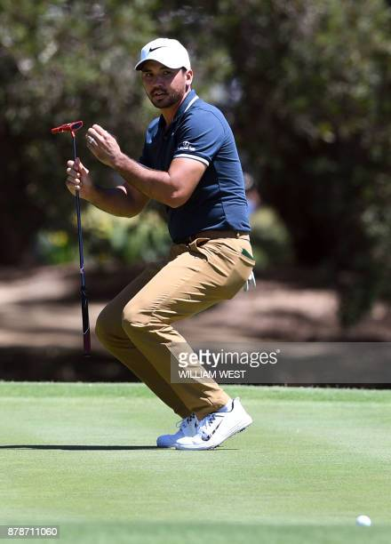 Jason Day of Australia reacts after missing a putt during the third round of the Australian Open played at the Australian Golf Club course in Sydney...
