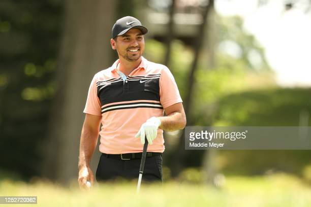 Jason Day of Australia reacts as he stands on the 18th tee box during the second round of the Travelers Championship at TPC River Highlands on June...