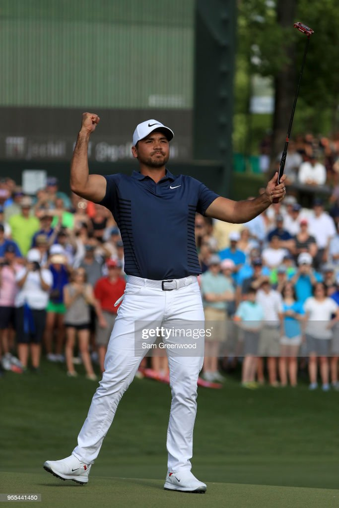 Jason Day of Australia reacts following his par putt on the 18th green during the final round to win the 2018 Wells Fargo Championship at Quail Hollow Club on May 6, 2018 in Charlotte, North Carolina.