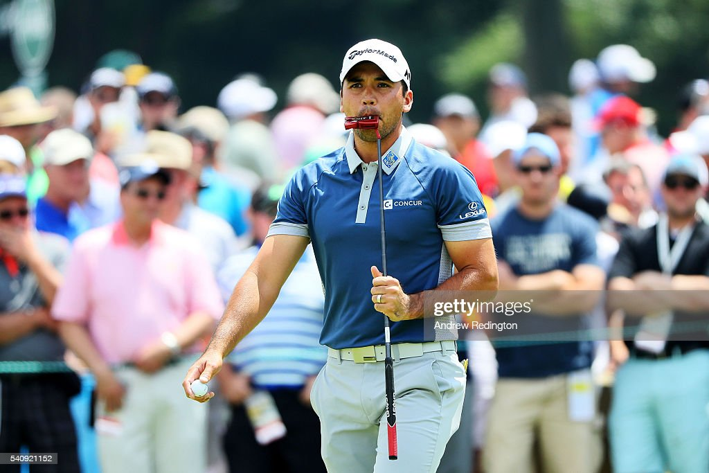 Jason Day of Australia reacts on the eighth green during the continuation of the weather delayed first round of the U.S. Open at Oakmont Country Club on June 17, 2016 in Oakmont, Pennsylvania.