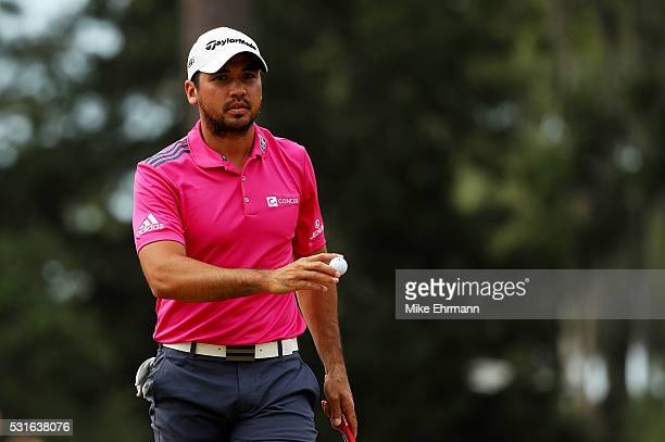 Jason Day of Australia reacts on the seventh green during the final round of THE PLAYERS Championship at the Stadium course at TPC Sawgrass on May 15...