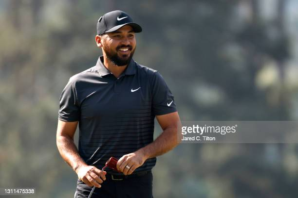 Jason Day of Australia reacts on the third green during the first round of the Masters at Augusta National Golf Club on April 08, 2021 in Augusta,...