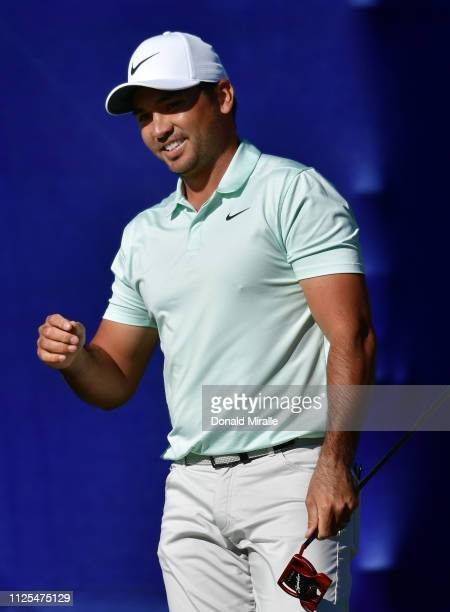 Jason Day of Australia reacts to a missed birdie putt on the 17th green on the South Course during the final round of the the 2019 Farmers Insurance...