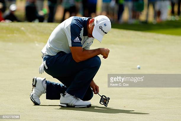 Jason Day of Australia reacts to a missed birdie putt on the seventh green during the final round of the 2016 Masters Tournament at Augusta National...