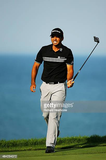 Jason Day of Australia reacts to a missed eagle putt on the 16th green during the final round of the 2015 PGA Championship at Whistling Straits on...