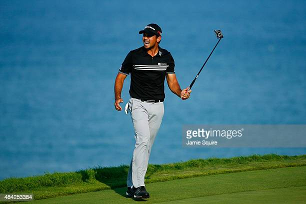 Jason Day of Australia reacts to a missed eagle putt on the16th green during the final round of the 2015 PGA Championship at Whistling Straits on...
