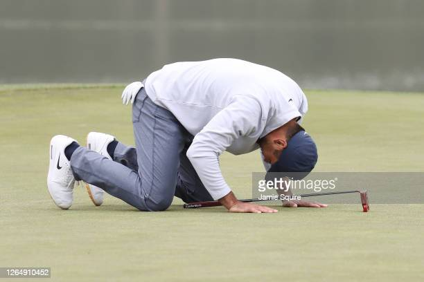 Jason Day of Australia reacts to a missed putt on the 17th green during the final round of the 2020 PGA Championship at TPC Harding Park on August...