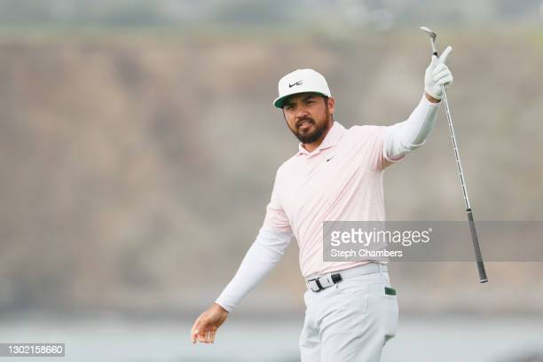 Jason Day of Australia reacts to a shot to the tenth green during the final round of the AT&T Pebble Beach Pro-Am at Pebble Beach Golf Links on...