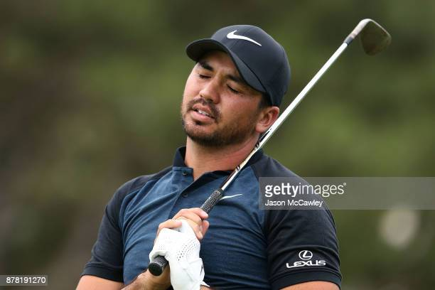 Jason Day of Australia reacts to his approach shot on the 17th hole during day two of the 2017 Australian Golf Open at the Australian Golf Club on...
