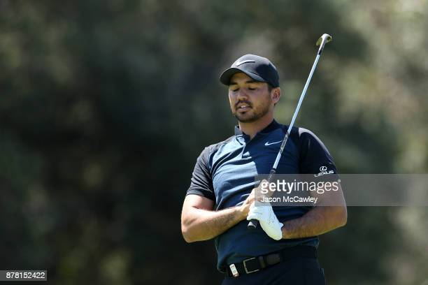 Jason Day of Australia reacts to his approach shot on the 9th hole during day two of the 2017 Australian Golf Open at the Australian Golf Club on...