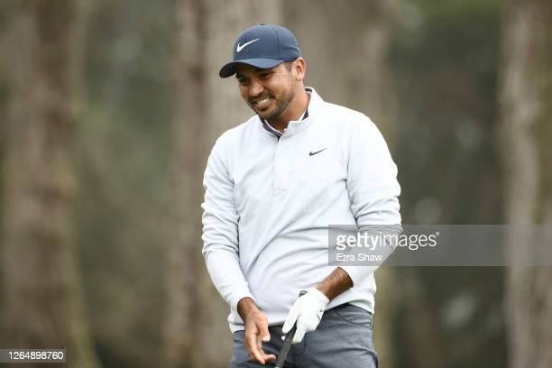Jason Day of Australia reacts to his shot from the eighth tee during the final round of the 2020 PGA Championship at TPC Harding Park on August 09,...