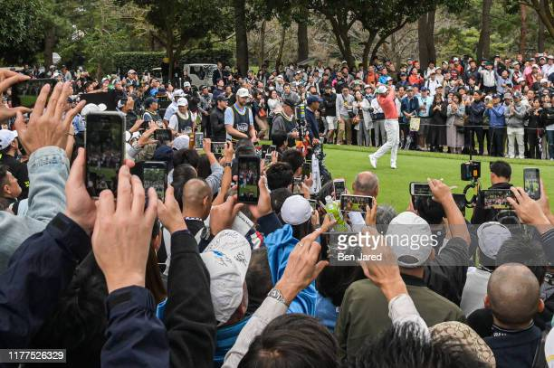 Jason Day of Australia takes a practice swing during the MGM Resorts The Challenge: Japan Skins at Accordia Golf Narashino Country Club on October...