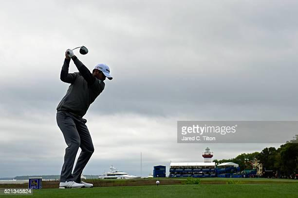 Jason Day of Australia tees off on the 18th hole during the second round of the 2016 RBC Heritage at Harbour Town Golf Links on April 15 2016 in...