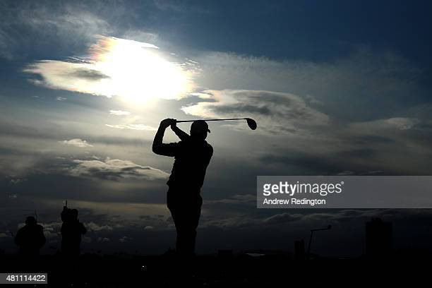 Jason Day of Australia tees off on the 5th hole during the second round of the 144th Open Championship at The Old Course on July 17, 2015 in St...