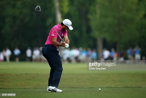 Jason Day of Australia tees off on the sixth hole during the second round of the Zurich Classic of New Orleans at TPC Louisiana on April 29 2016 in...