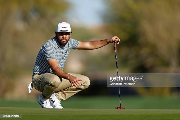 Jason Day of Australia waits to putt on the 15th green during the first round of the Waste Management Phoenix Open at TPC Scottsdale on February 04,...