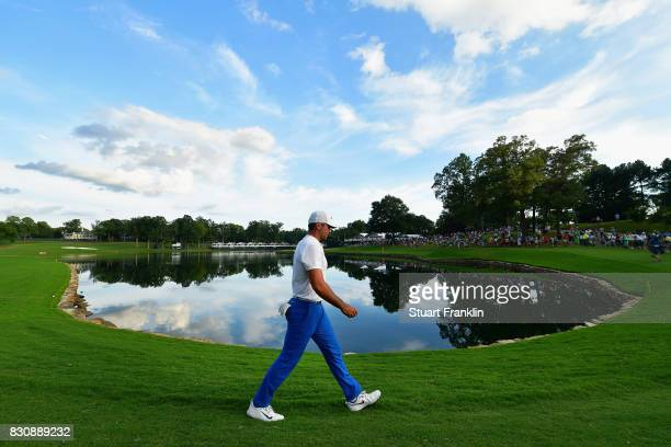 Jason Day of Australia walks along the 17th hole during the third round of the 2017 PGA Championship at Quail Hollow Club on August 12 2017 in...