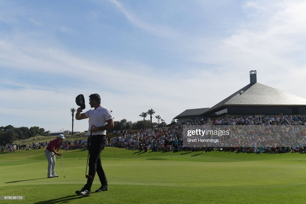 Jason Day of Australia walks off the green after completing his round during day four of the 2017 Australian Golf Open at The Australian Golf Club on November 26, 2017 in Sydney, Australia.
